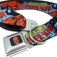 "Spiderman Seat Belt Buckle Dog Collar 1"" 9-15"" Length"