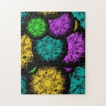 Abstract Neon Bubbles Jigsaw Puzzle