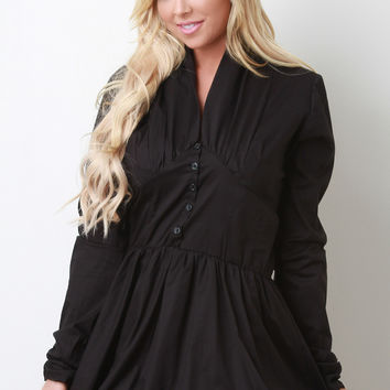 Button-Up Bubble Skirt Poplin Dress