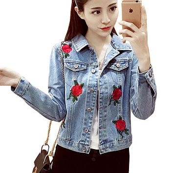 2017 Single-Breasted Women Jacket Rose Embroidered Oversize Denim Short Jacket Autumn And Winter Jeans Jacket Female Coat FL0067