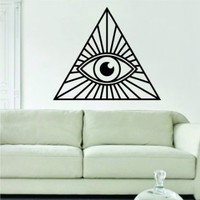 All Seeing Eye Illuminati Design Quote Decal Sticker Wall Vinyl Art Words Decor