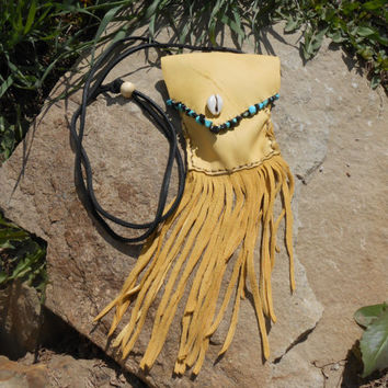 Small Fringe Bag, Deer Skin Leather with Turquoise and Black Onyx Gemstones, Handmade, Native American Inspired, Mountain Man, Rendezvous