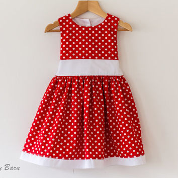 Girls Summer Dress, Party, Special Occasion Dress - Cotton, Red, White Polka Dots - Age 2 Ready to Ship, handmade - SALE