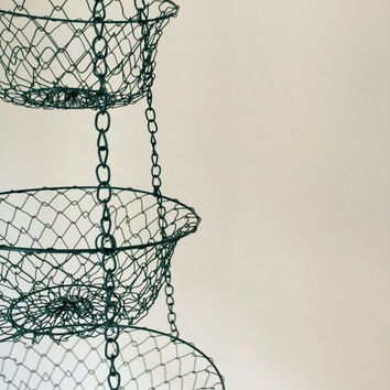 Mid Century Hanging Metal Mesh Baskets, 3 Tiered Kitchen Storage, Wire Egg Basket, Folding Baskets in Gold tone FREE US Shipping