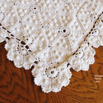 Vintage Hobnail Doily Runner, White, Rectangular, Hand Crocheted, Centerpiece Doilies