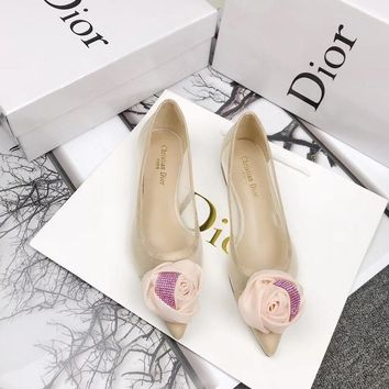 Dior Apricot Embroidered Ballet Flat With Flower - Best Online Sale