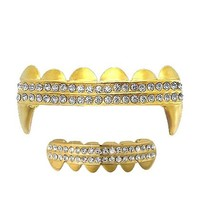 Gold Clear 2 Row Iced Out Vampire Grillz Set Top & Bottom Hip Hop Bling Grillz