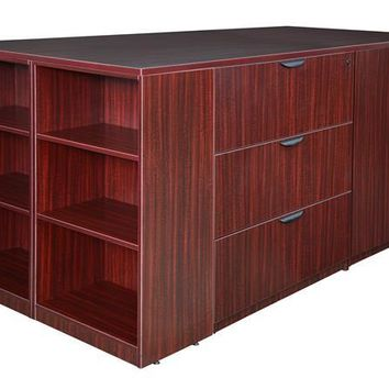 Legacy Stand Up 2 Storage Cabinet/ 2 Lateral File Quad with Bookcase End- Mahogany