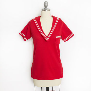 Vintage 1970s Sailor Top - Red Knit Poly Tee 70s - Small