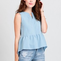 Midcentury Peplum Blouse In Blue