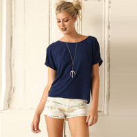 Dark Blue Back Tie Knot Short Sleeve T-Shirt