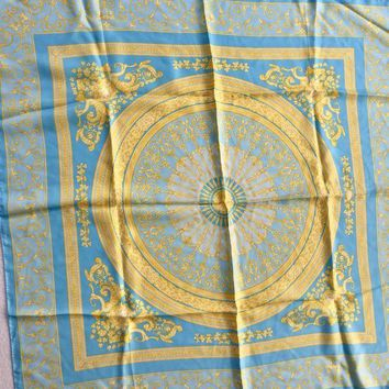 DCCK3SY Versace Women's Silk Scarf/Wrap Blue/Yellow Italy NWT