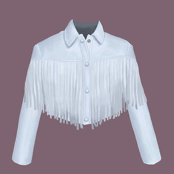 Sloane Peterson White Fringe Leather Jacket Art Print / Ferris Bueller's Day Off Illustration