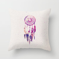 Girly Pink Purple Dream Catcher Watercolor Paint Throw Pillow by Railton Road