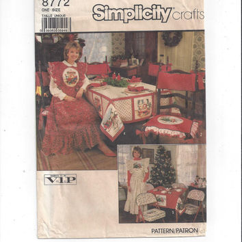 Simplicity 8772 Pattern for Christmas Apron, Chair Cushion & Cover, Tablecloths, Napkins, 1988, FACTORY FOLDED, UNCUT, Simplicity Crafts