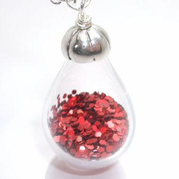 Red Glitter Hand Blown Glass Teardrop Filled Pendant Necklace - Drip Collection