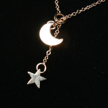 24 inches Long Chain Star And Moon Necklace Gold by PinkChemistry