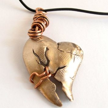 Healing Broken Heart Bronze Handforged Handmade Necklace MetalArtistry | Metal_Artistry - Jewelry on ArtFire