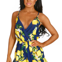 When Life Gives You Lemons Navy Printed Wrap Playsuit