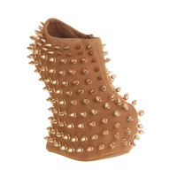 Jeffrey Campbell Shadow Platform Ankle Bt Nude Lthr Rose Gold Stud - Ankle Boots