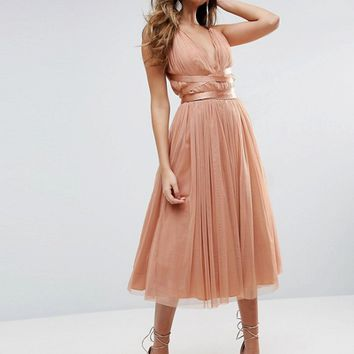 ASOS PREMIUM Tulle Midi Prom Dress With Ribbon Ties at asos.com