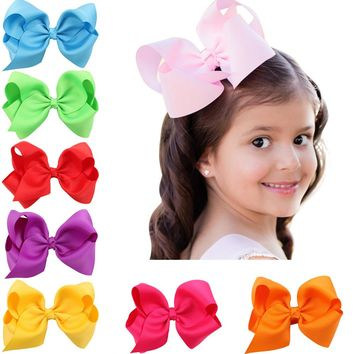 10pcs/lot 5 Inch Big Hair Bow Girls Solid Ribbon Hair Bows With Clip Boutique Hair Clip Hairpin kids Hair Accessories