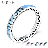 Suplush Fashion Enamel Multicolor Heart Rings For Women With Sparkling AAA CZ Brand Finger Rings For Wedding/Engagement Jewelry