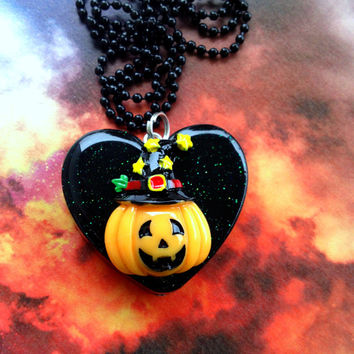 Halloween Pumpkin Pendant / Resin Halloween Jewelry / JackOLantern Necklace / Hallows Eve / Spooky Fall Jewelry / Halloween Magic Harvest