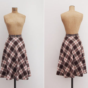 Linear Equation Skirt - Vintage 1970s Plaid Skirt - Brown White Red High Waist Circle Skirt Small S