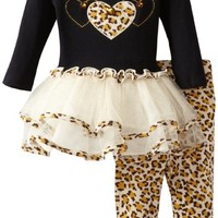 Bonnie Baby Baby Girls' Leopard Trim Tutu Legging Set