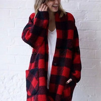 Loose Lapel Cocoon Type Plaid Woolen Coat