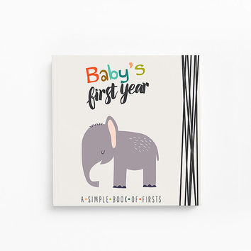 Baby Memory Book- Baby Book- Little Animal Lover - A Simple Book of Firsts