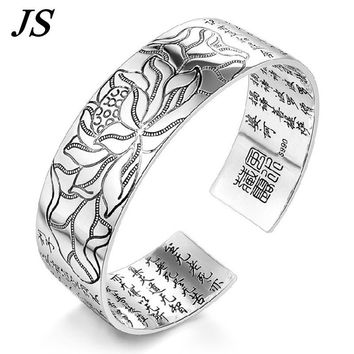 JS Cheap Open Wide Silver Cuff Bracelet Bangle Women Chinese Buddhist Scriptures Buddha Hand Jewelry Bracciale Uomo SB024