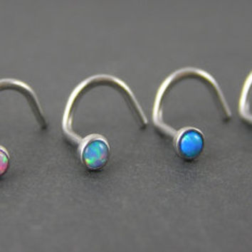 20g Fire Opal Nose Screws - You Choose - White, Pink, Aqua Blue, Blue, Green or Dark Blue, 2mm nose stud, nose ring dainty, tiny, corkscrew