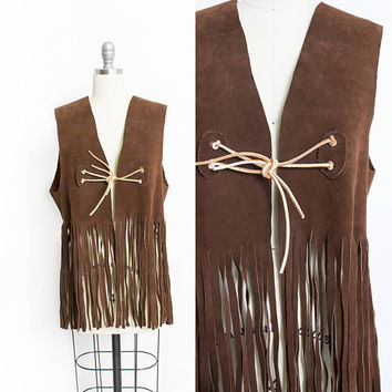 Vintage 1960s FRINGE Leather Vest - Brown Suede Hippie Boho Top 1970s - Large