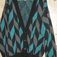Vintage 80s Mens Cosby Cardigan Button Up Grandpa Cardigan Size xLarge