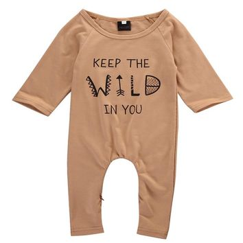 Autumn Winter Baby Romper Newborn Infant Baby Boy Girl Kids light tan Long Romper Jumpsuit Clothes Outfit Keep Wild in you