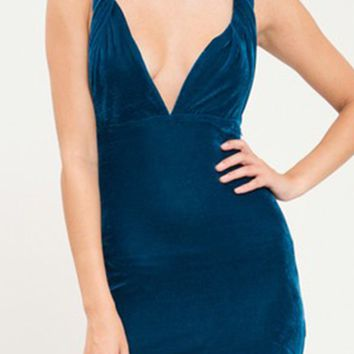 Feeling The Pressure Velvet Sleeveless Twisted Strap Plunge V Neck Bodycon Mini Dress - 2 Colors Available