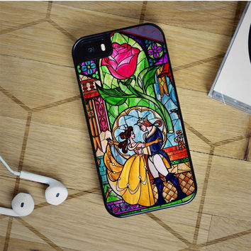 beauty and the beast stained glass iPhone 5(S) iPhone 5C iPhone 6 Samsung Galaxy S5 Samsung Galaxy S6 Samsung Galaxy S6 Edge Case, iPod 4 5 case