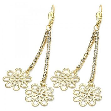 Gold Layered 5.075.002.1 Long Earring, Flower Design, with White Cubic Zirconia, Diamond Cutting Finish, Gold Tone