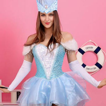 Blue Sweetheart Neckline Snow Queen Costume