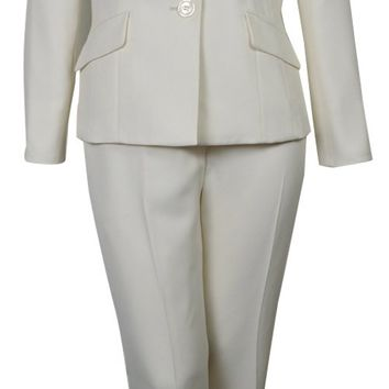 Evan Picone Women's City Chic Textured Three Button Pant Suit