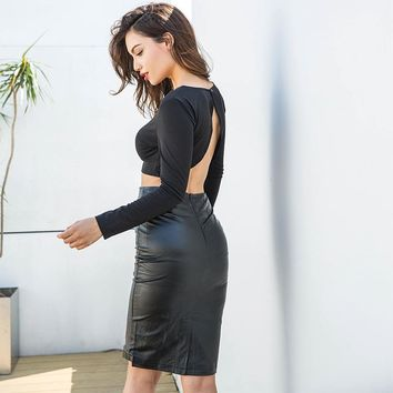 Skirt Hot Sale Round-neck High Waist Slim Bottom & Top [96254328847]