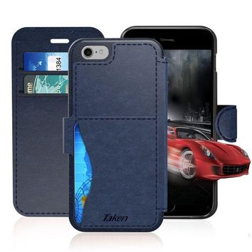 DCCKRQ5 iPhone 8 / iPhone 7 Leather Wallet Case with Cards Slot and Metal Magnetic, Slim Fit and Heavy Duty, TAKEN Plastic Flip Case / Cover with Rubber Edge, for Women, Men, Boys, Girls, 4.7 Inch (Blue)