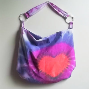Heart tie dye bag  Colorful red heart hobo bag  by ACAmour on Etsy