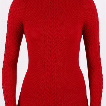 Turtle Neck Textured Lightweight Stretch Long Sleeve Top