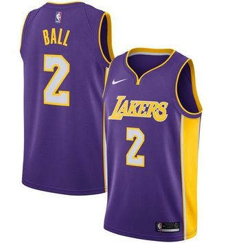 Lonzo Ball Los Angeles Lakers # 2 Nike Purple Swingman Statement Edition Jersey