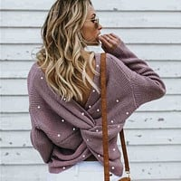 Beads Knit Open Back Long Sleeve Sweater