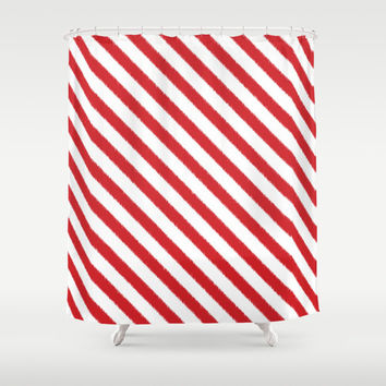 Shower Curtain - Christmas Decor - Candy Cane - Candy Cane Stripes - Red and White - Holiday Decor - Christmas Gift - Gift Idea