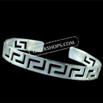 Sterling Silver Cuff Bracelet - Greek Key Motif (8mm)